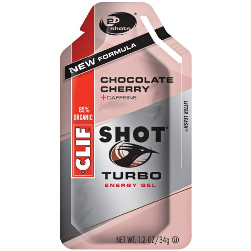 CLIFBAR alimentos cafeína Choco Cherry Turbo Gel (caja de 24), 100mg