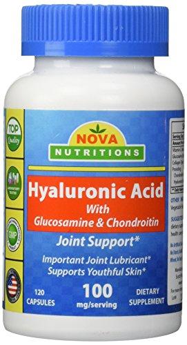 Ácido hialurónico 100 mg por porción 120 cápsulas por Nova nutriciones