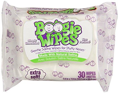 Boogie Kids salina Natural de toallitas y toallitas de nariz para el resfriado y la gripe, sin perfume, cuenta 30 (Pack de 3)