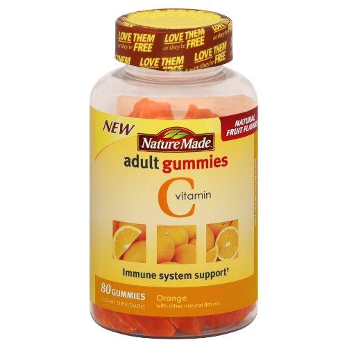 Naturaleza adulta naranja de gomitas vitamina C, cuenta 80