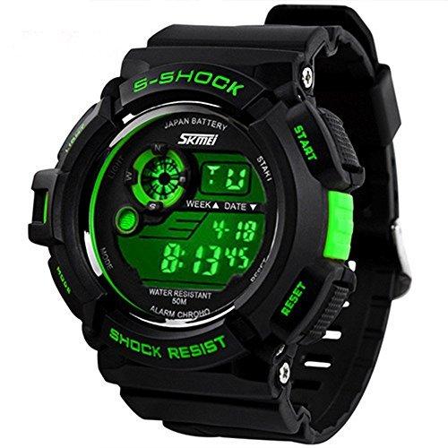 Feliz Digital ® Sports relojes reloj militar 50m hombres impermeable deporte cuarzo Digital Wrstwatches