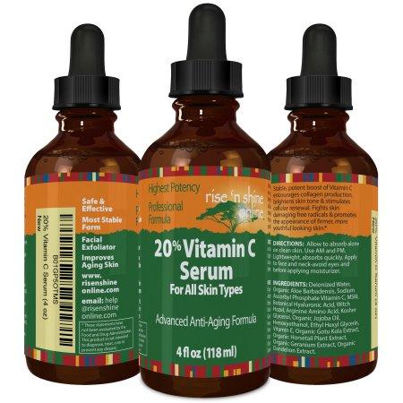 Rise 'N Shine 20 por ciento de la vitamina C en suero con ácido hialurónico 4 oz Estimula el colágeno para Anti-Envejecimiento - Se desvanece manchas de la edad