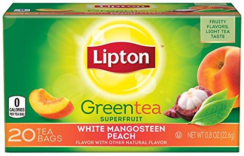 Lipton té verde superfrutas, Mangosteen blanco melocotón 20 ct (paquete de 6)