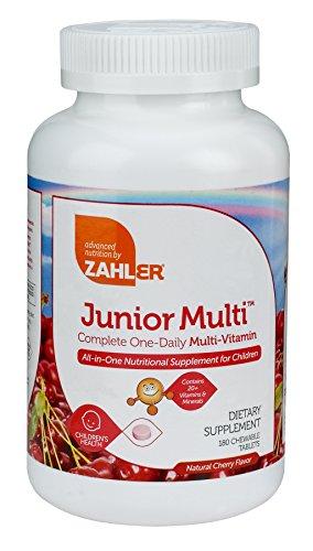 Zahler Junior Multi, suplemento multivitamínico y Mineral masticable para niños, para niños gran sabor cereza tabletas masticables, Color Natural y sabor, 180 comprimidos masticables