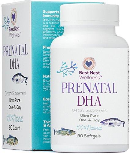 La mejor DHA Prenatal, suplemento de aceite de pescado puro, uno un día, sin sabor, alto en Omega 3, la cuenta 90