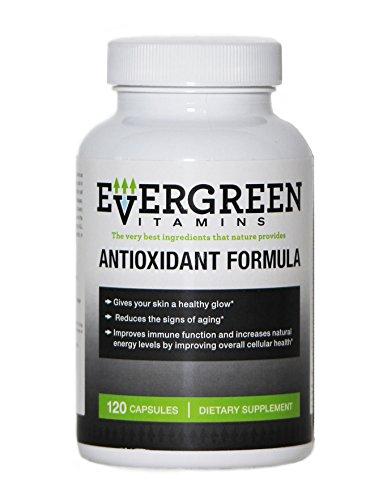 VITAMINAS EVERGREEN:: Fórmula antioxidante:: vitaminas suplemento dietético Natural:: antiedad:: mejoró sistema inmunológico:: le da brillo saludable de la piel:: garantía 100% devolución:: 120 cápsulas