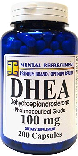 Refresco mental: DHEA 100MG 200 Caps - promueve niveles óptimos hormonales para los hombres y las mujeres #1 mejor