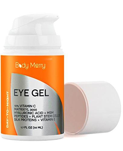 Crema contorno de ojos para ojeras, bolsas y arrugas - 1.7 OZ - vitamina C Matrixyl 3000 + ácido hialurónico + MSM + péptidos + células madre vegetales - mejor antienvejecimiento Gel - por cuerpo feliz