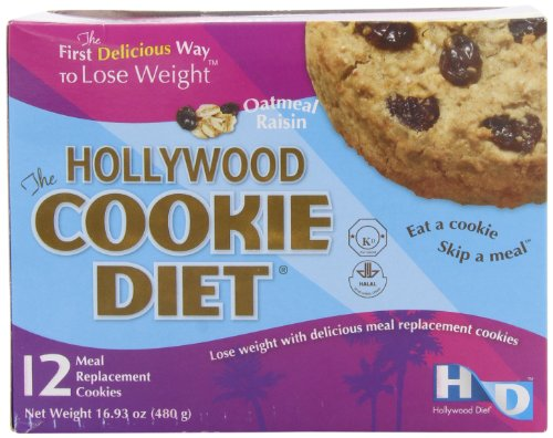 Hollywood Cookie dieta comida recambio galletas, harina de avena con pasas de uva, 16,93 oz (pack 12)