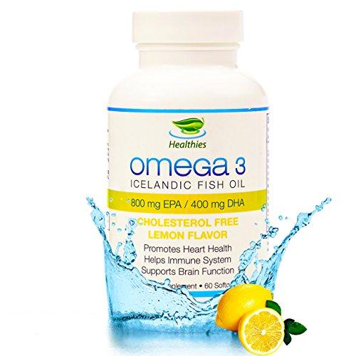 Healthies Omega 3 pescado aceite 2400 mg nuevo sabor a limón - Triple fuerza mg 860 430 mg de EPA & DHA - molecularmente destilado 100% Natural, mercurio, GMO libre, islandés Omega 3 ácidos grasos libres