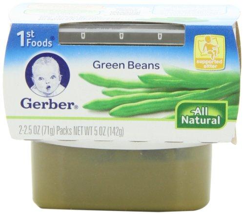 1 Gerber de alimentos ejotes, tinas cuenta de 2, 2,5 onzas (paquete de 8)