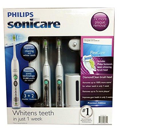 Philips Sonicare Flexcare recargable Sonic cepillo Premium Edition 2 pack paquete (2 Flexcare maneja, diamante 2 Clean cabezas de cepillo estándar, 1 cargador de viaje compacto, 2 tapas de viaje higiénica, 2 casos de viajes duros, 1 esterilizador de UV)