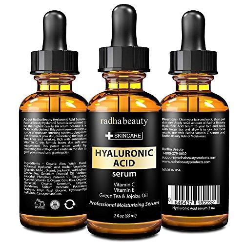 Suero de ácido hialurónico de Radha belleza para la cara y la piel - mejores grado Anti arrugas y Anti envejecimiento suero con vitamina C, vitamina E y té verde.