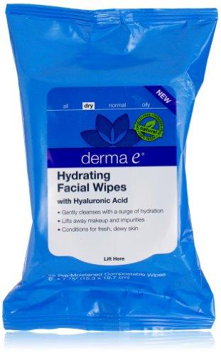 Derma E hidratante Facial toallitas, cuenta 25