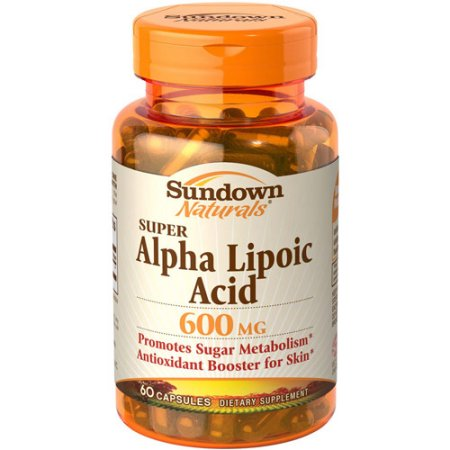 Sundown Naturals cápsulas de suplementos dietéticos Súper ácido alfa lipoico 600 mg 60 conteo