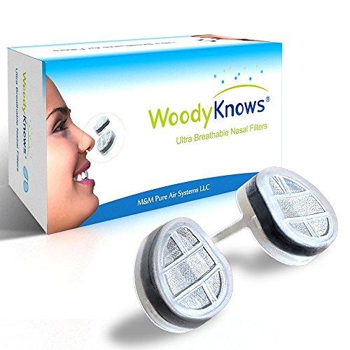 WoodyKnows Ultra transpirable nariz filtros nasales (nuevo modelo) para alergia fiebre del heno, polen y polvo, pelo de mascotas y caspa alergia, asma alérgica, Sinusitis, rinitis alivio calmante, bloque las partículas aerotransportadas de alergenos, aire