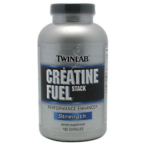TwinLab creatina combustible apilado potenciador del rendimiento, fuerza, cápsulas, 180-Conde botella