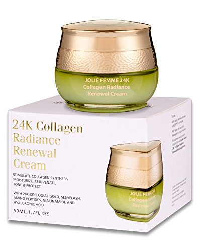 Jolie Femme 24k Radiance renovación crema anti arrugas, anti envejecimiento piel cuidado 50 ml 1.7 Oz Natural colágeno, 24 k oro coloidal, Amino-péptidos, niacinamida y ácido hialurónico, Super fuerza crema hidratante