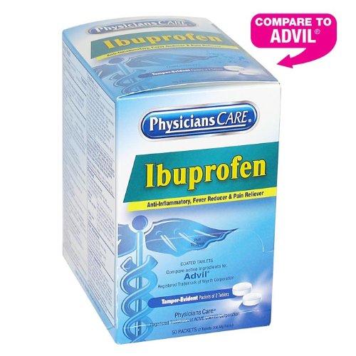 PhysiciansCare ibuprofeno analgésico analgésicos (Comparar con Advil), 200mg, 50 paquetes de dos tabletas
