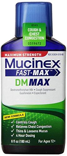 Rápido-Max Mucinex DM adulto expectorante y tos Suppressant de líquido, 6 onzas