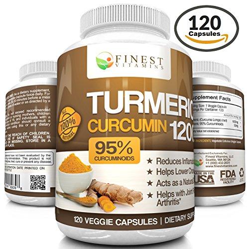 Todo Natural, farmacéuticos cúrcuma curcumina suplemento | 1200 mg diarios, con un 95% Curcuminoids | 120 cápsulas vegetales de gran alcance