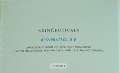 SkinCeuticals Resveratrol B E - 1 caja de 6 tubos de compresión = (.75 onzas / 22,2 ml.) 3/4 Oz. Un concentrado de antioxidantes durante la noche ayuda a reparar y prevenir daño acumulado para mejor luminosidad y densidad