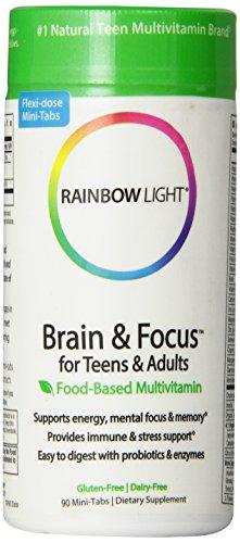 Cerebro de luz de arco iris y foco multivitamínico, 90 tabletas
