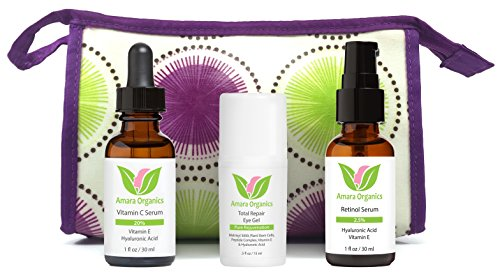 Cuidado de la piel orgánicos Amara Kit con suero de vitamina C, Total Repair Eye Gel y suero Retinol