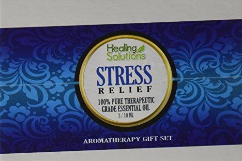 Mezcla de alivio de tensión Set Kit de aceite esencial 100% puro grado terapéutico mejor - 3 / 10mL (mente cuerpo calma/tranquilidad, relajación y alivio de tensión)