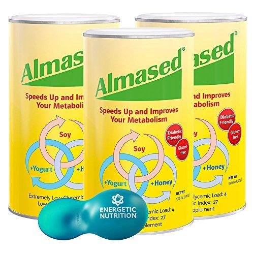 Almased Multi proteína en polvo 3-pack (17.6 onzas) con la cucharada de medida múltiples
