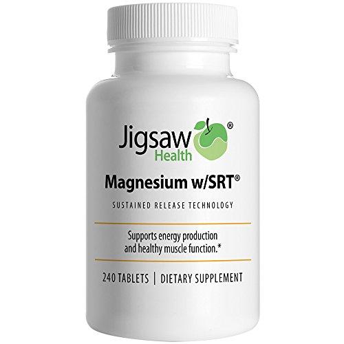 Rompecabezas magnesio w/SRT - suplemento de magnesio Premium, orgánicos y lenta liberación - activo, tabletas de malato de magnesio biodisponible con cofactores de vitamina B, 240 tabletas
