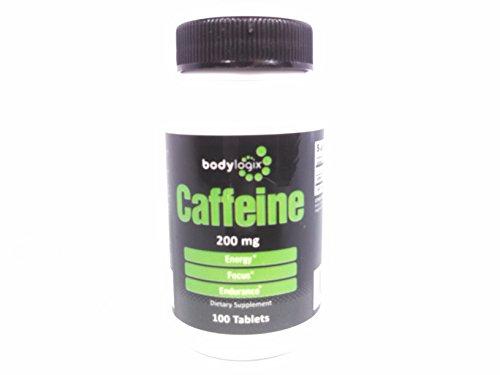 Tabletas de 200mg de cafeína Bodylogix máxima potencia, 100-cuenta