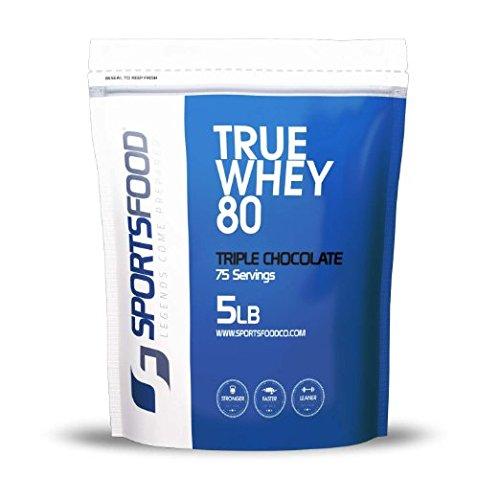 Deportes comida verdadera 80 proteína concentrado (Triple Chocolate, 5 lb) 80% proteína, bajos carbohidratos y grasa, cero azúcar, sin clavar de BCAA