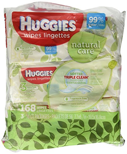 Huggies Natural Care paquete suave fragancia toallitas - 3 paquetes de 56 hojas cada uno; 168 total CT.
