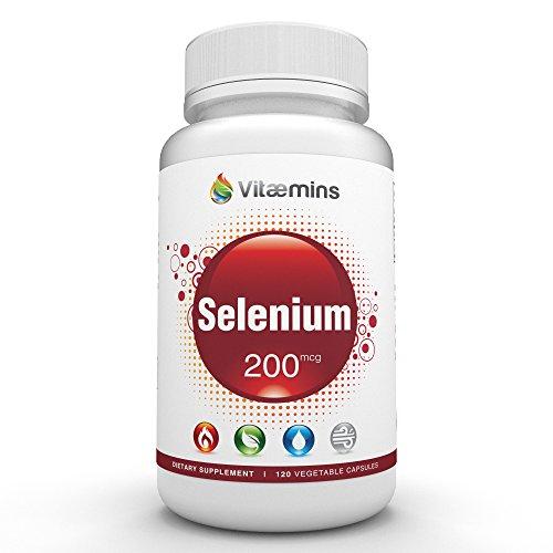 Vitaemins selenio - 200mcg - soporte para tiroides, próstata, corazón y salud del sistema inmunológico - potente antioxidante Defense - calidad PREMIUM - 120 cápsulas vegetarianas