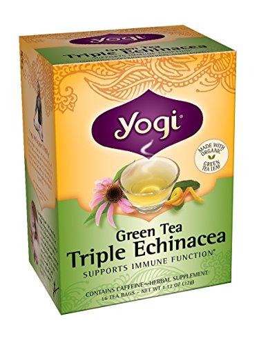 Yogui té verde té, 16 bolsas de té (paquete de 6), Triple equinácea