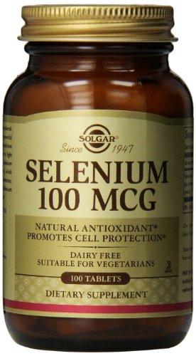 Solgar selenio tabletas, 100 mcg, 100 cuenta