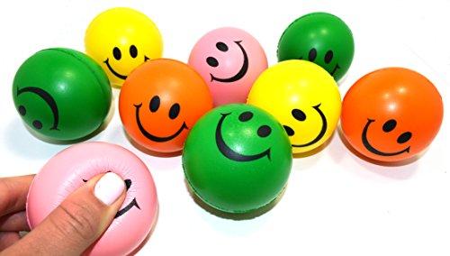 Deslumbrante sonrisa cara Squeeze relajable bolas de juguetes Neon (1 Dz) colores surtidos