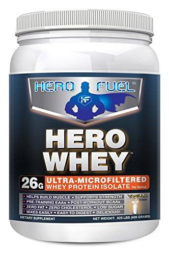 Combustible de héroe héroe suero - proteína de suero microfiltrado Ultra vainilla aislar - 1 Lbs - 26 gramos de suero aislar proteínas con carbohidratos sólo 2 por - 13 aminoácidos esenciales y aminoácidos de cadena ramificada por la porción de músculo má