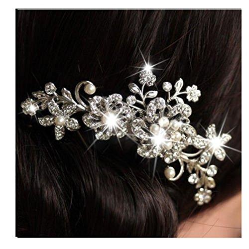 Encanto nupcial boda plata cristal Strass perlas mujeres peine pinza de pelo caliente