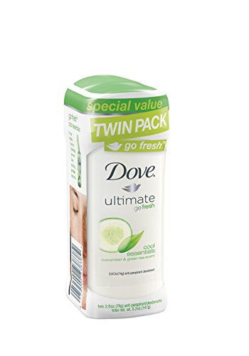 Paloma ir fresco desodorante antitranspirante, Cool Essentials pepino y té verde, 2,6 oz, Twin Pack