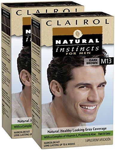 Instintos naturales de Clairol para hombres Color del pelo, color marrón oscuro (M13), pk 2