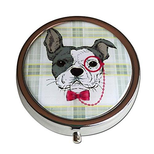 Bull Dog redondo plata tres compartimiento bolsillo/bolso/viaje pastillero