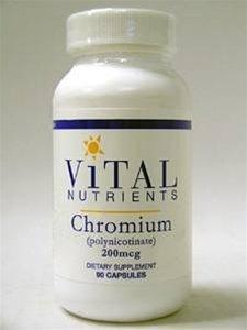90 cápsulas vitales nutrientes cromo (polinicotinato) 200 mcg