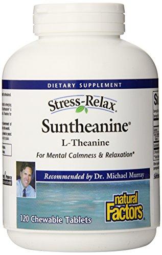 Factores naturales Suntheanine 100 mg, tabletas masticables, cuenta 120