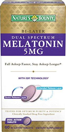 Las naturalezas recompensa doble espectro Bi-capa melatonina tabletas, 5mg, 60 cuenta