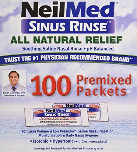 Sinus Rinse mezcla Regular paquetes - alivia alergias y síntomas de sinusitis, 100 sal Packets,(neilmed) premezclado