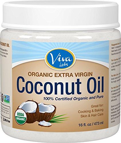 Viva laboratorios los mejores Virgen Extra aceite de coco orgánico, 16 onzas
