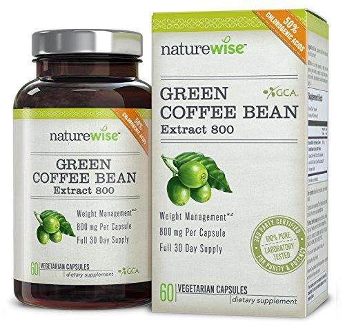 NatureWise Extracto de grano de café verde 800 con ACG Natural suplemento para bajar de peso, 60 Caps