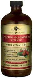 Citrato de magnesio Solgar líquido calcio con vitamina D3, fresa Natural, 16 onzas